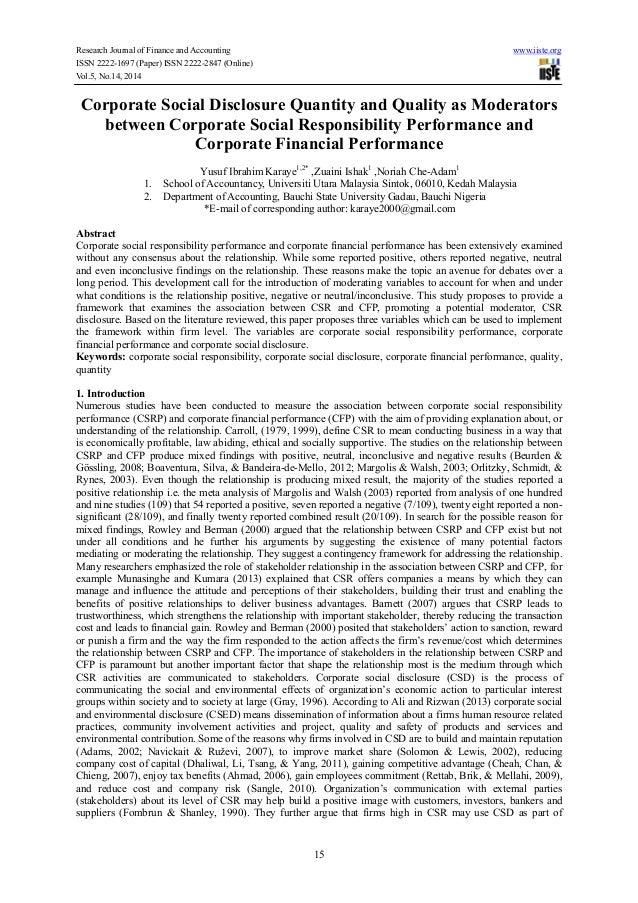 Corporate social disclosure quantity and quality as moderators between corporate social responsibility performance and corporate financial performance