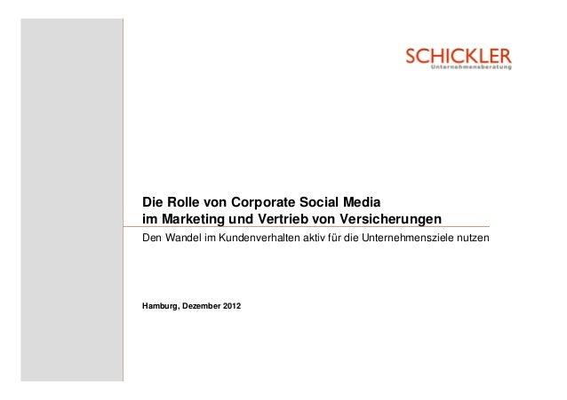 Die Rolle von Corporate Social Mediaim Marketing und Vertrieb von VersicherungenDen Wandel im Kundenverhalten aktiv für di...