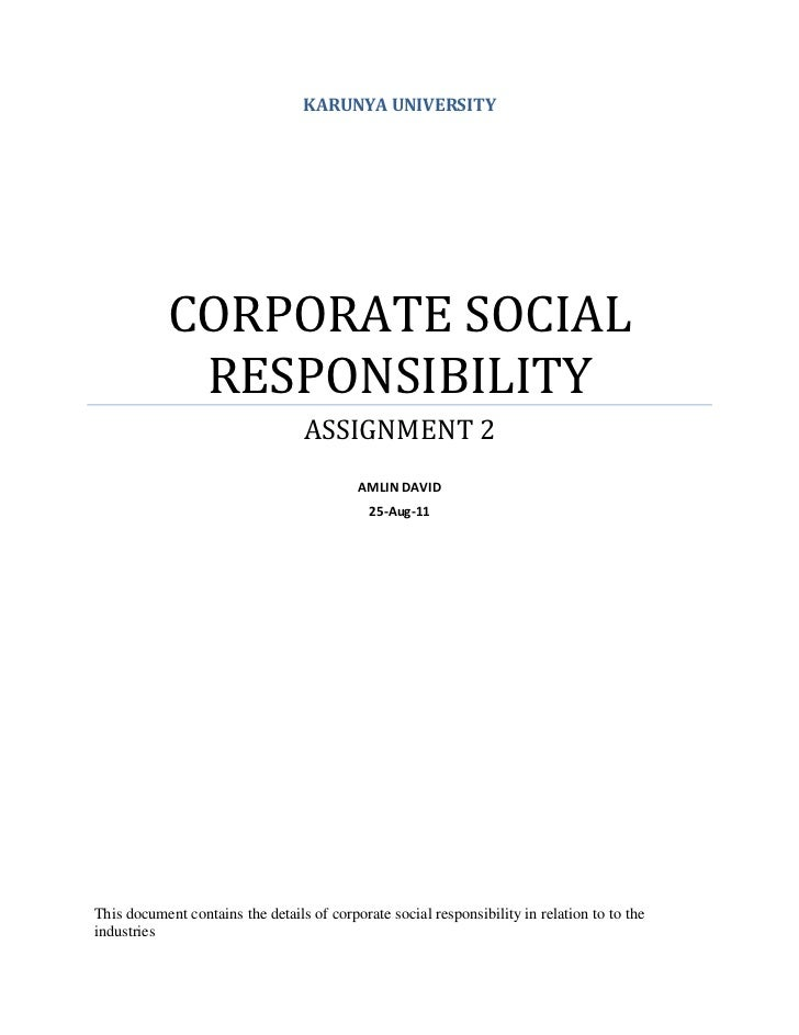 KARUNYA UNIVERSITY            CORPORATE SOCIAL             RESPONSIBILITY                                  ASSIGNMENT 2   ...
