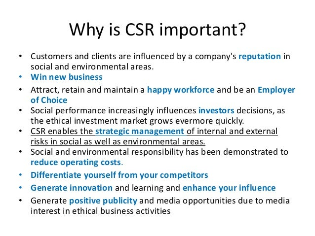 does corporate social responsibility affect firms Recently, i connected with dozens of corporate executives of large and small companies in an effort to understand the benefits of corporate social responsibility (csr) to the corporation the question, i learned, is harder to answer than you might expect, principally because most.