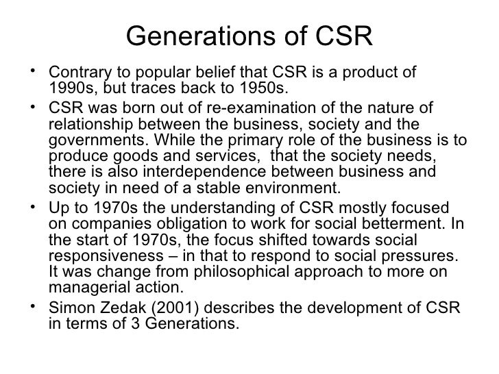 Corporate social responsibility   4 generations of csr
