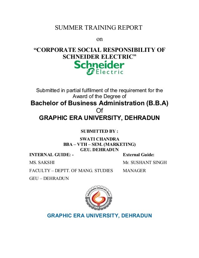 """SUMMER TRAINING REPORT                             on """"CORPORATE SOCIAL RESPONSIBILITY OF        SCHNEIDER ELECTRIC""""  Subm..."""