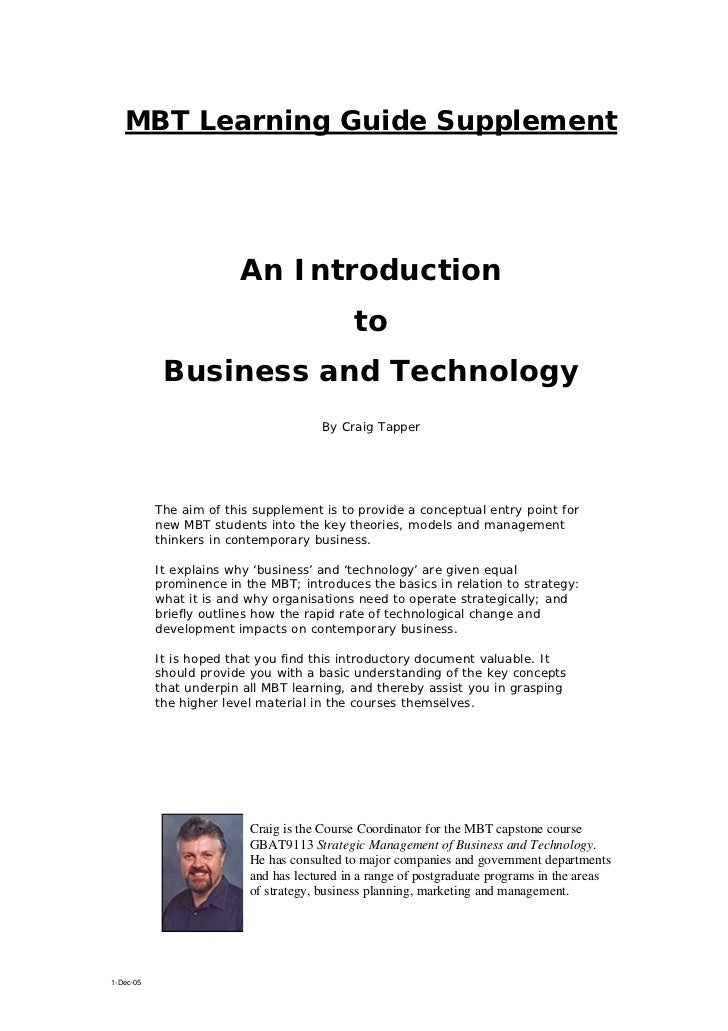 MBT Learning Guide Supplement                        An Introduction                                            to        ...