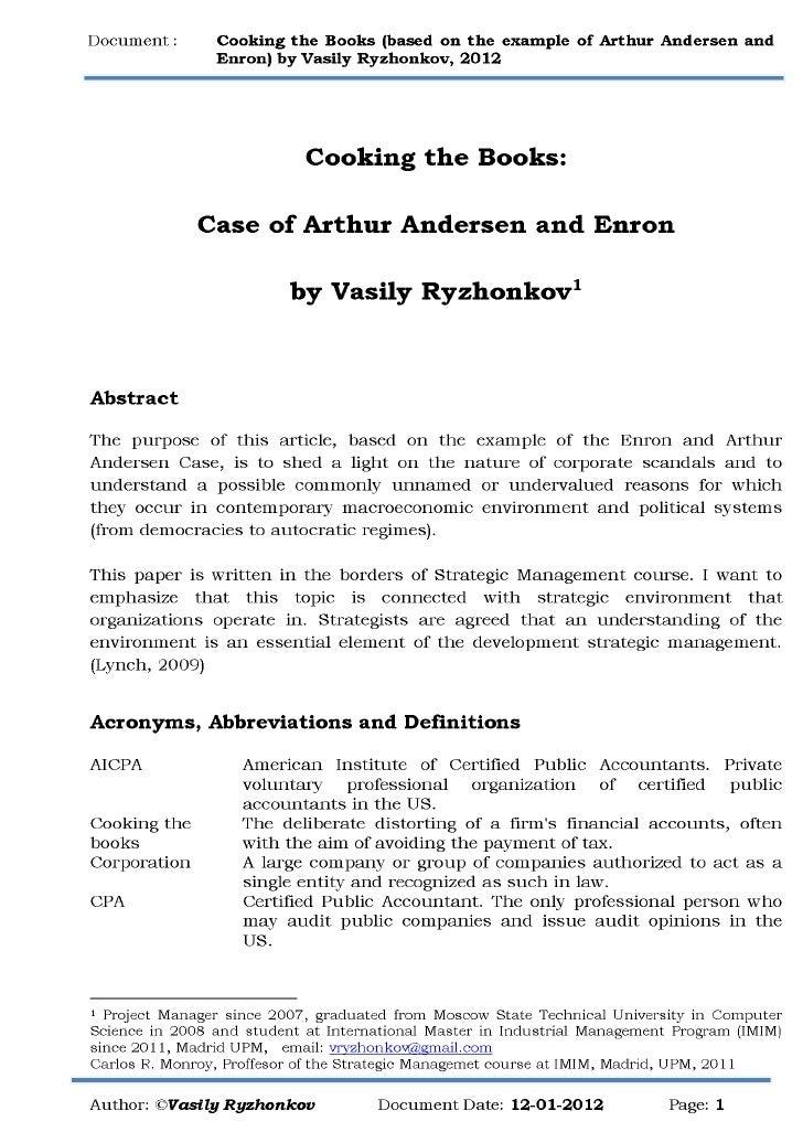 capstone case study arthur andersen