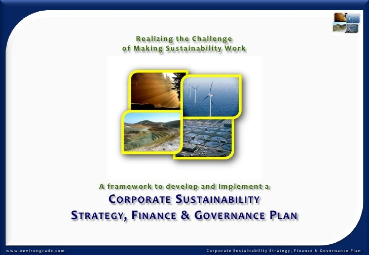 Realizing the Challenge <br />of Making Sustainability Work<br />A framework to develop and Implement a <br />Corporate Su...