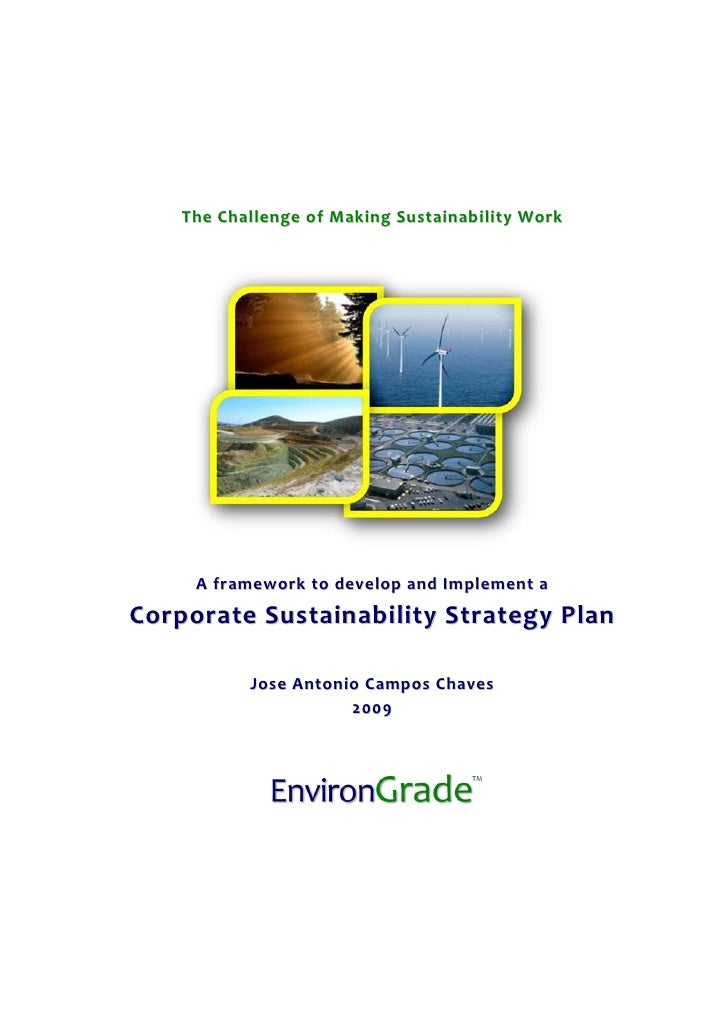 The Challenge of Making Sustainability Work          A framework to develop and Implement a Corporate Sustainability Strat...