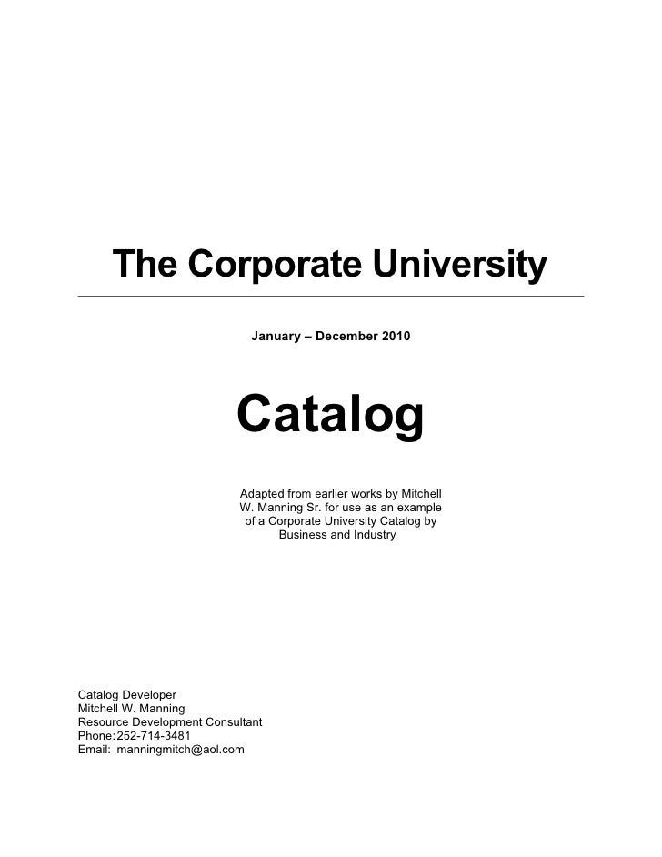 Corporate Training And Development Catalog