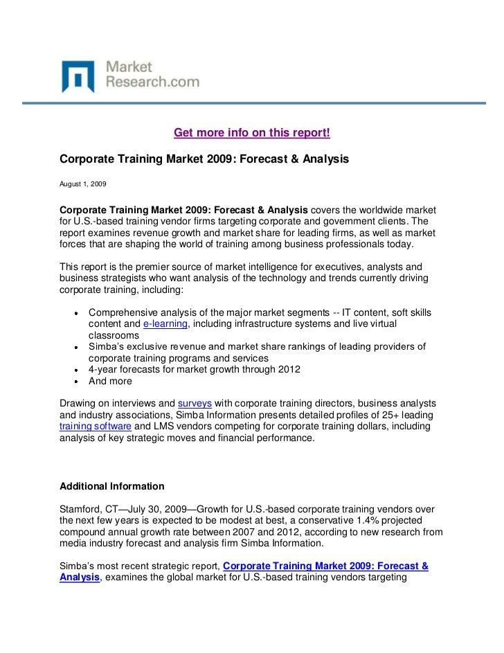 Corporate Training Market 2009: Forecast & Analysis