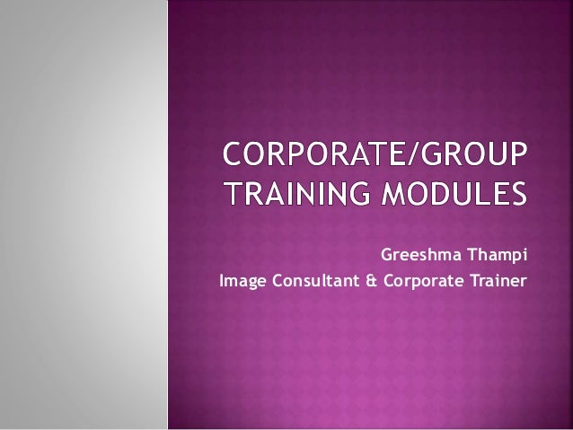 Corporate and Group Training Modules