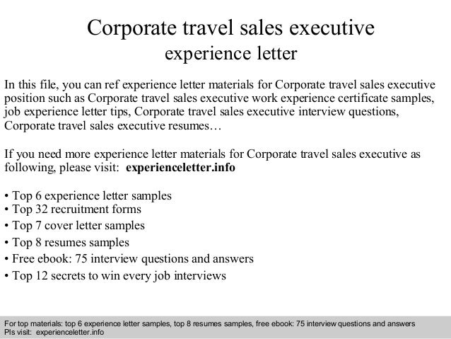 corporate travel sales executive experience letter in this file you