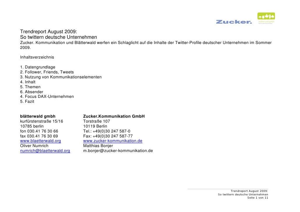 Trendreport August 2009: So twittern deutsche Unternehmen Zucker. Kommunikation und Blätterwald werfen ein Schlaglicht auf...