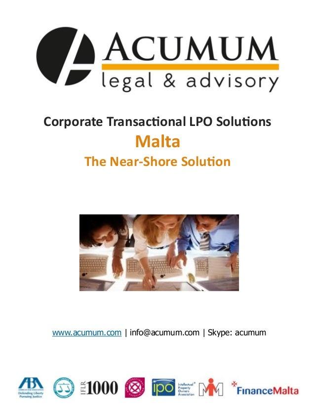 Corporations Transactional Outsourcing (LPO) Solutions- Acumum Legal & Advisory