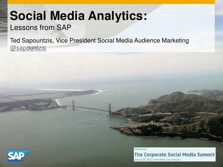 Social Media Analytics: Lessons from SAP