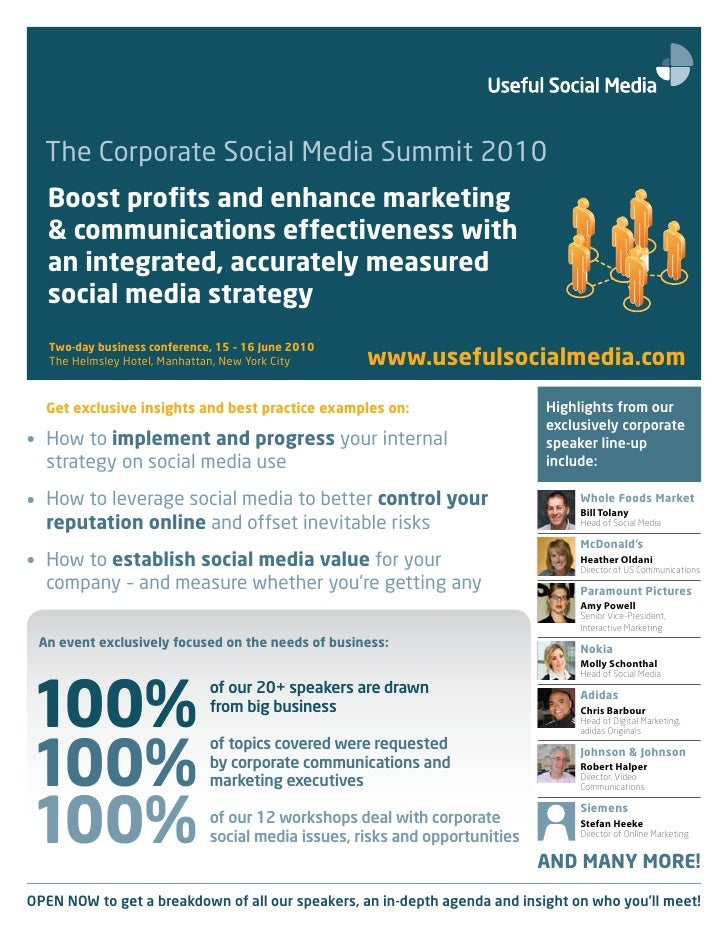 The Corporate Social Media Summit 2010    Boost profits and enhance marketing    & communications effectiveness with    an...