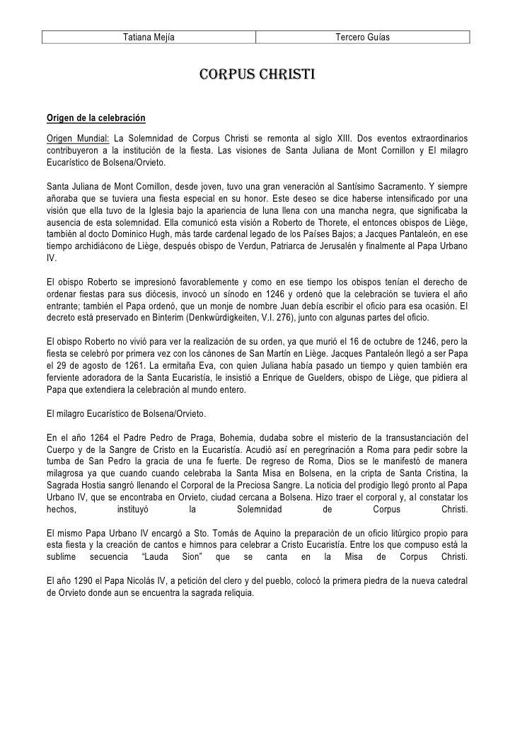 Tatiana Mejía                                           Tercero Guías                                           CORPUS CHR...