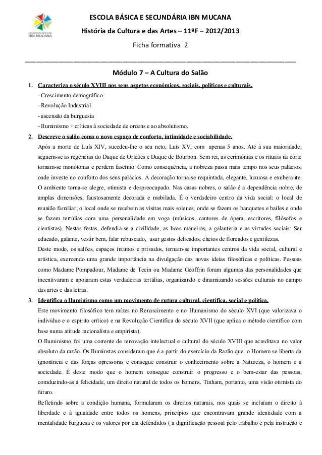 ESCOLA BÁSICA E SECUNDÁRIA IBN MUCANA História da Cultura e das Artes – 11ºF – 2012/2013 Ficha formativa 2 _______________...