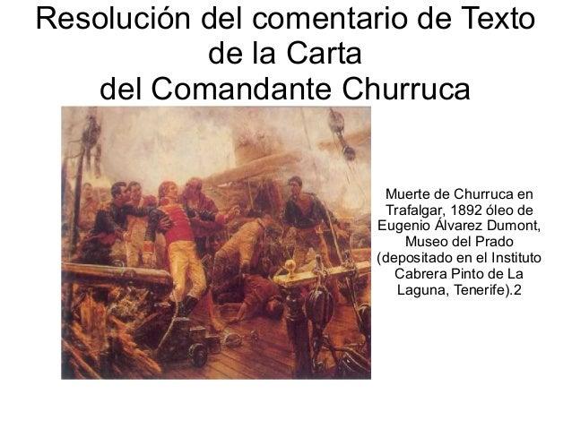 Resolución del comentario de Texto de la Carta del Comandante Churruca Muerte de Churruca en Trafalgar, 1892 óleo de Eugen...