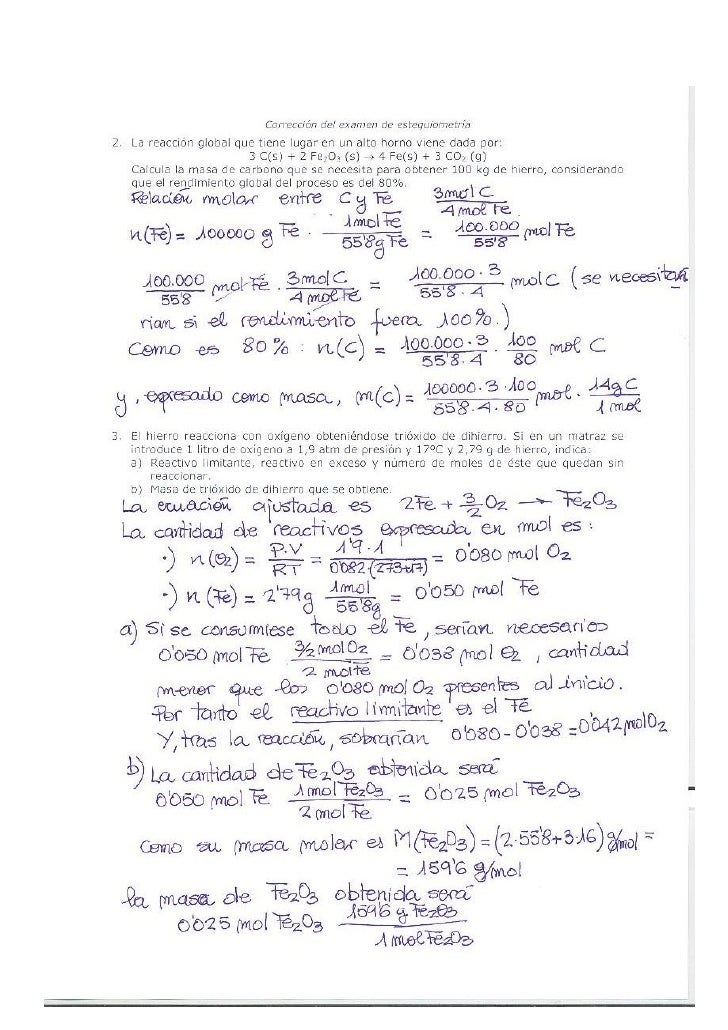 Corrección del examen de esteqiometría