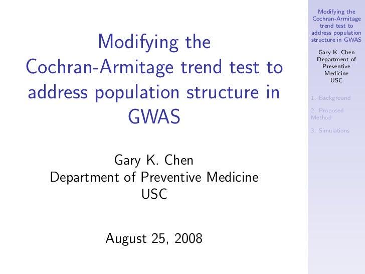 Modifying the                                      Cochran-Armitage                                         trend test to ...