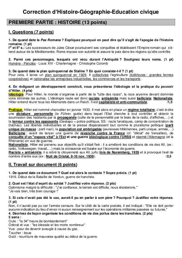 Correction d'Histoire-Géographie-Education civiquePREMIERE PARTIE : HISTOIRE (13 points)I. Questions (7 points)1. De quand...