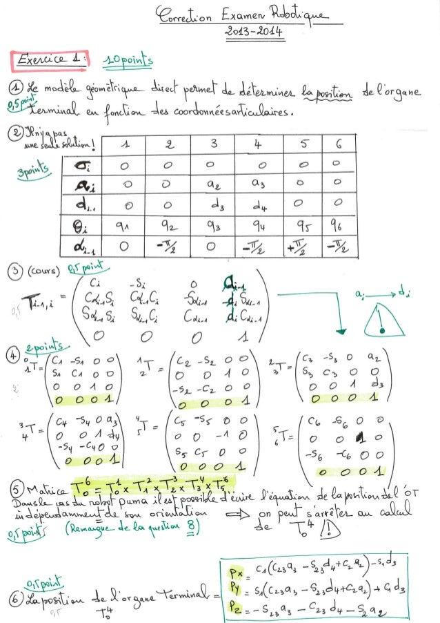 Correction examen Robotique