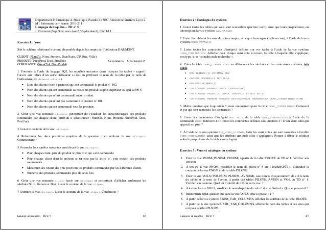 Département Informatique et Statistique, Faculté de SEG, Université Lumière Lyon 2           Exercice 2 : Catalogue du sys...