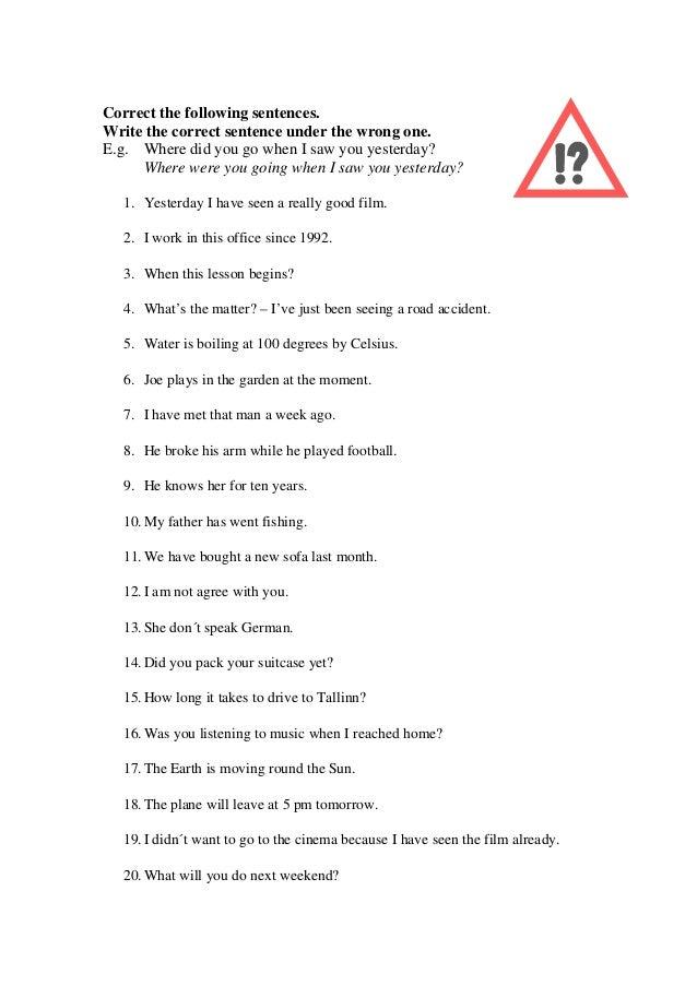 English Tenses - Correction of Mistakes