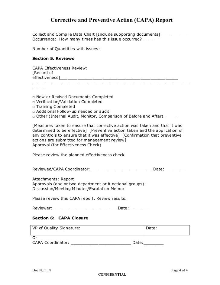 Corrective And Preventive Action Plan Capa Report Form