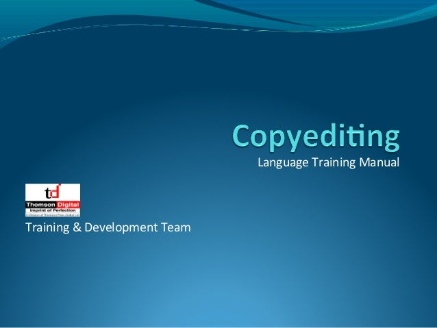 Language Training ManualTraining & Development Team