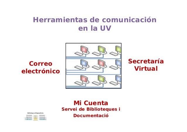 Mi Cuenta Servei de Biblioteques i Documentació Herramientas de comunicación en la UV Correo electrónico Secretaría Virtual