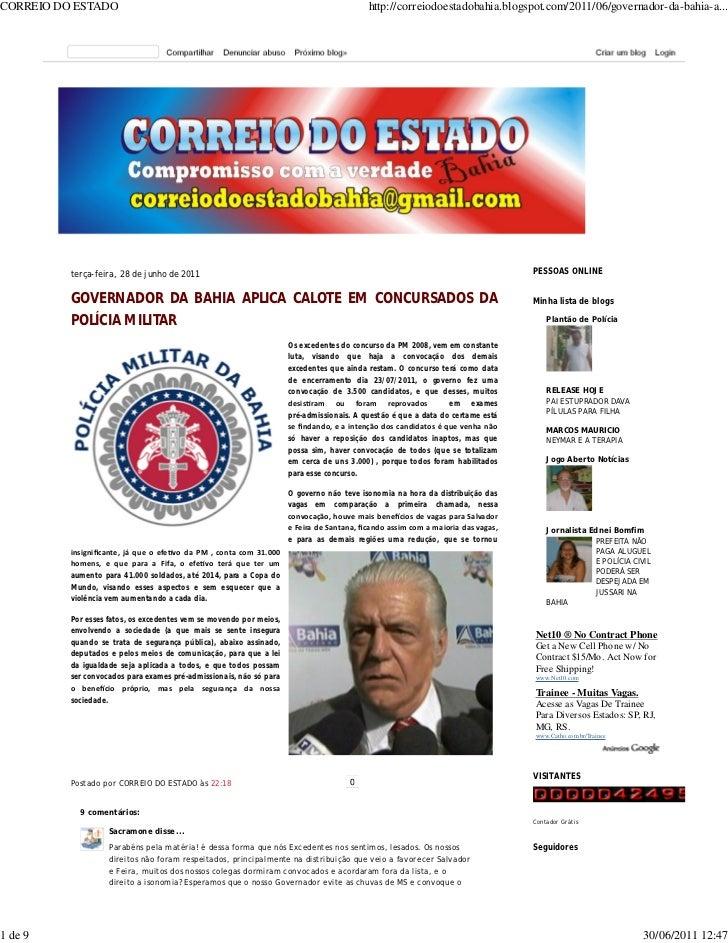 CORREIO DO ESTADO                                                                         http://correiodoestadobahia.blog...