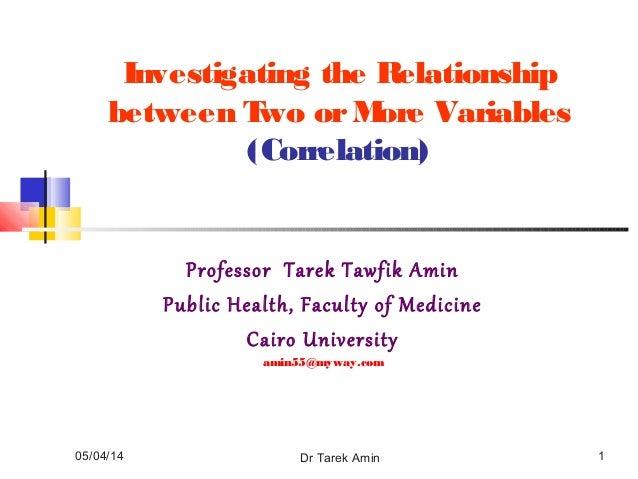 05/04/14 Dr Tarek Amin 1 Investigating the Relationship between Two orMore Variables (Correlation) Professor Tarek Tawfik ...