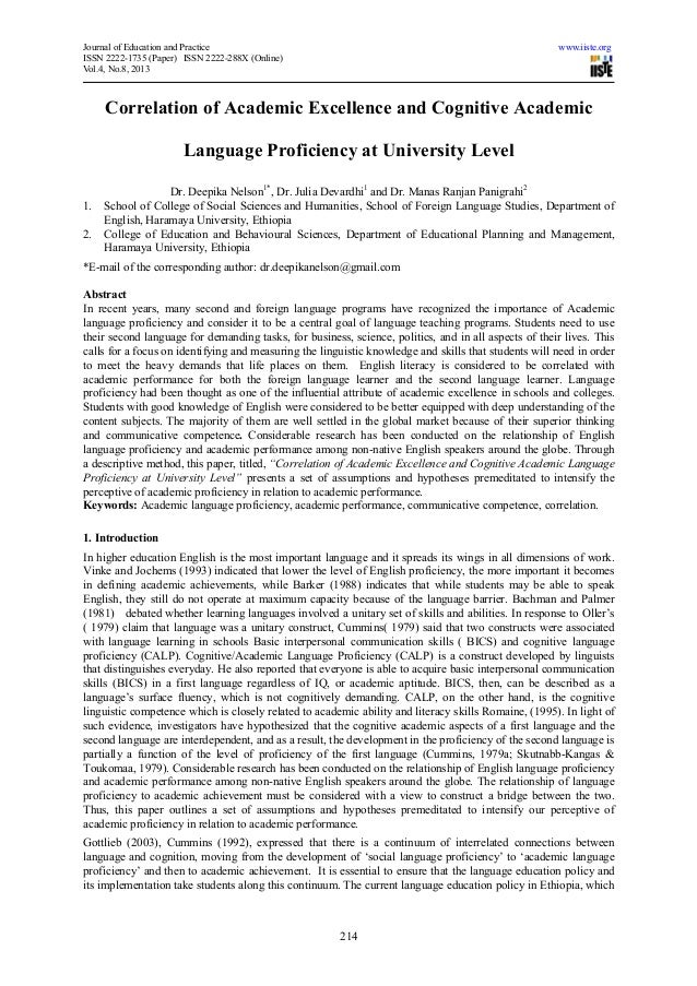 Correlation of academic excellence and cognitive academic language proficiency at university level