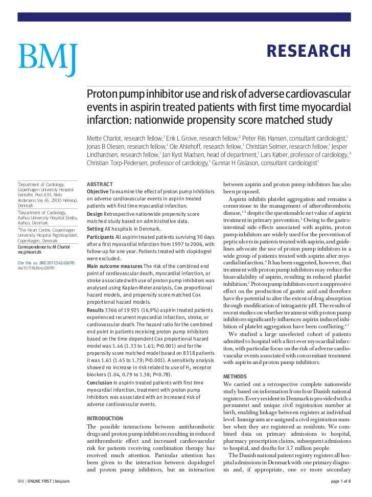 RESEARCH                                      Proton pump inhibitor use and risk of adverse cardiovascular                ...
