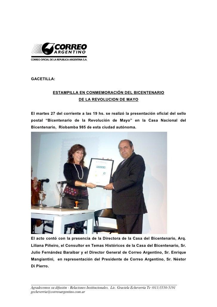 GACETILLA:                 ESTAMPILLA EN CONMEMORACIÓN DEL BICENTENARIO                                DE LA REVOLUCION DE...