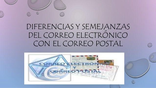 DIFERENCIAS Y SEMEJANZAS  DEL CORREO ELECTRÓNICO  CON EL CORREO POSTAL