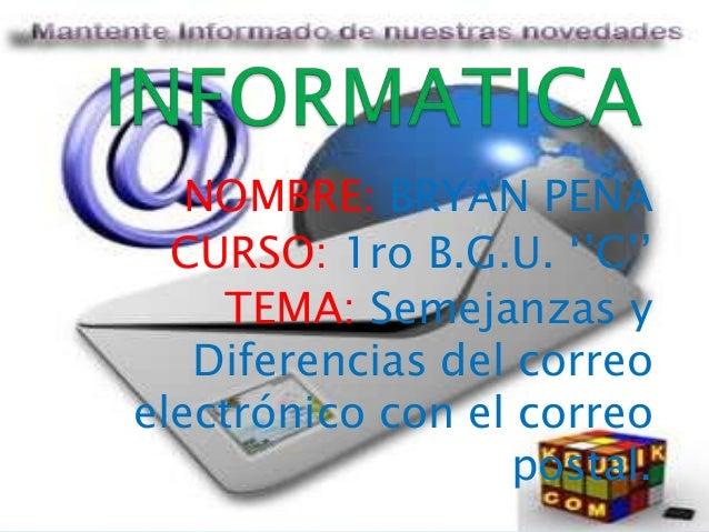 NOMBRE: BRYAN PEÑA CURSO: 1ro B.G.U. ''C'' TEMA: Semejanzas y Diferencias del correo electrónico con el correo postal.