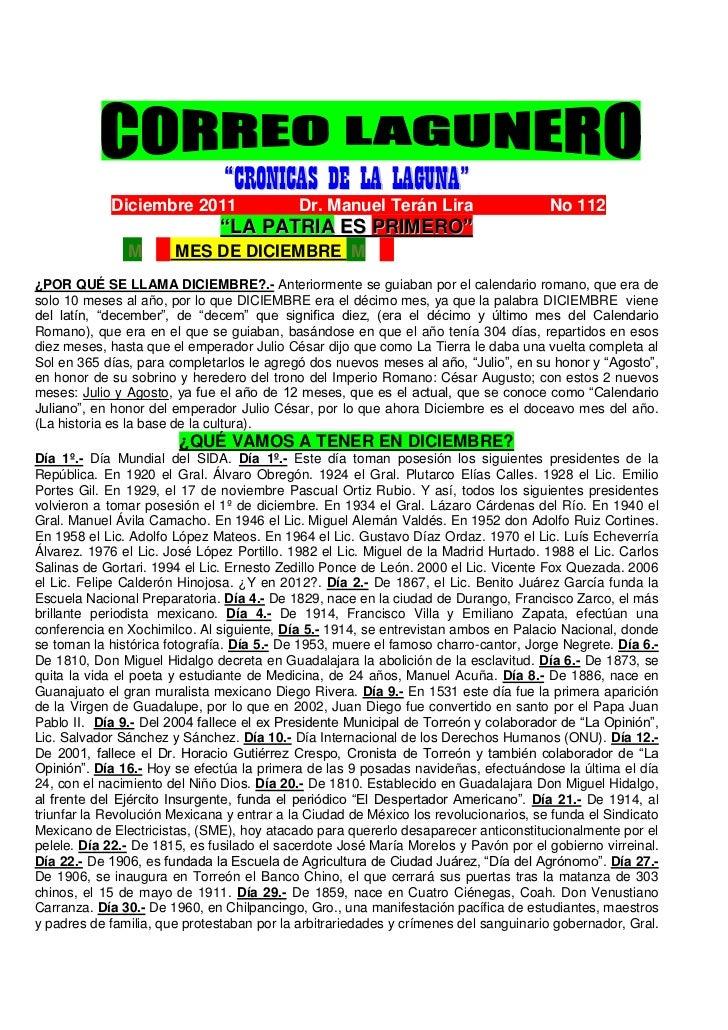 """""""CRONICAS DE LA LAGUNA""""            Diciembre 2011... .......Dr. Manuel Terán Lira..                          No 1122      ..."""