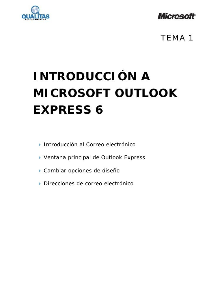 TEMA 1     INTRODUCCIÓN A MICROSOFT OUTLOOK EXPRESS 6   Introducción al Correo electrónico   Ventana principal de Outlook ...