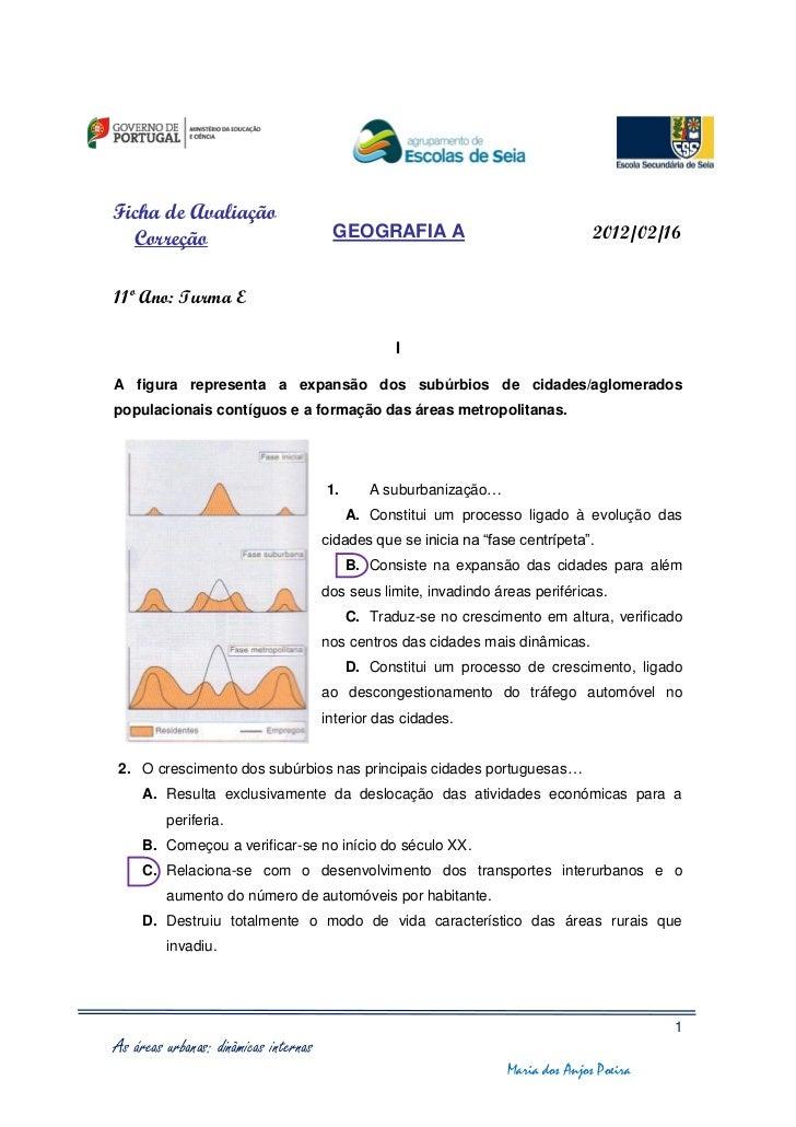 Ficha de Avaliação  Correção                              GEOGRAFIA A                                2012/02/1611º Ano: Tu...