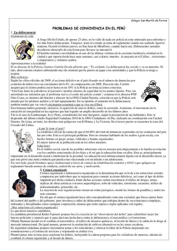 Colegio San Martín de Porres PROBLEMAS DE CONVIVENCIA EN EL PERÚ1. La delincuenciaTestimonio de vida2222562230A Jorge Dávi...