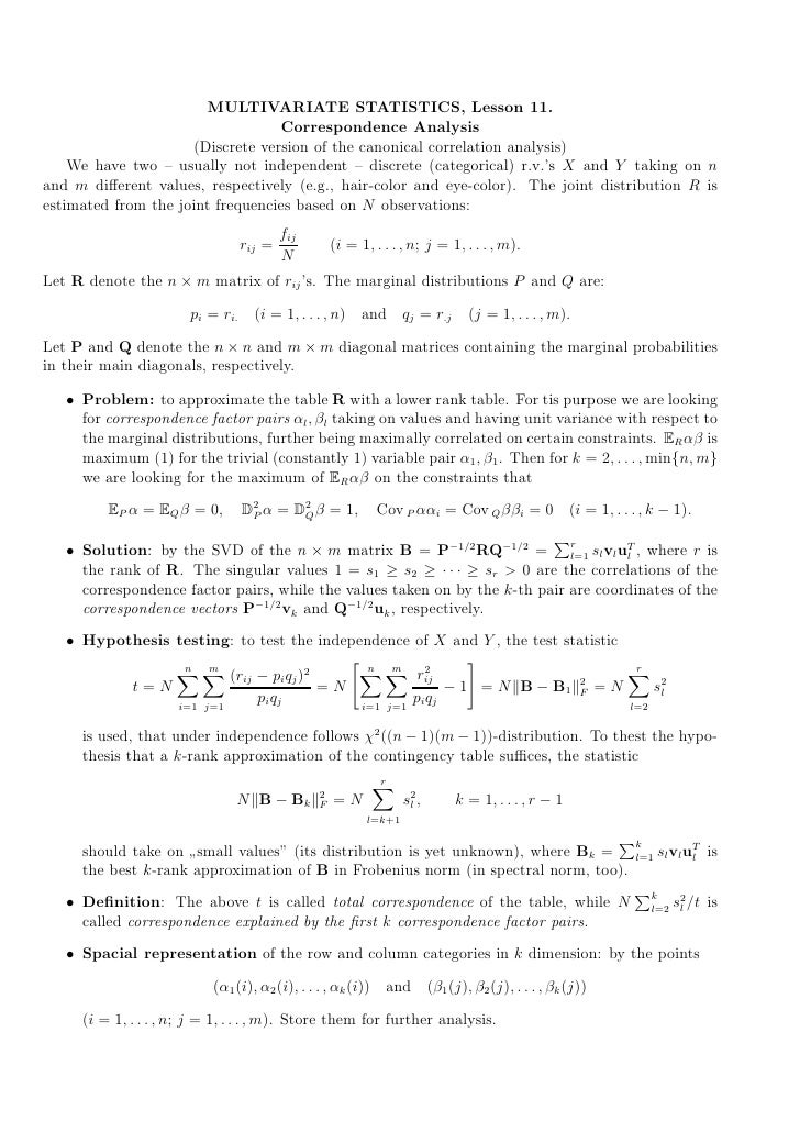 MULTIVARIATE STATISTICS, Lesson 11.                                   Correspondence Analysis                      (Discre...