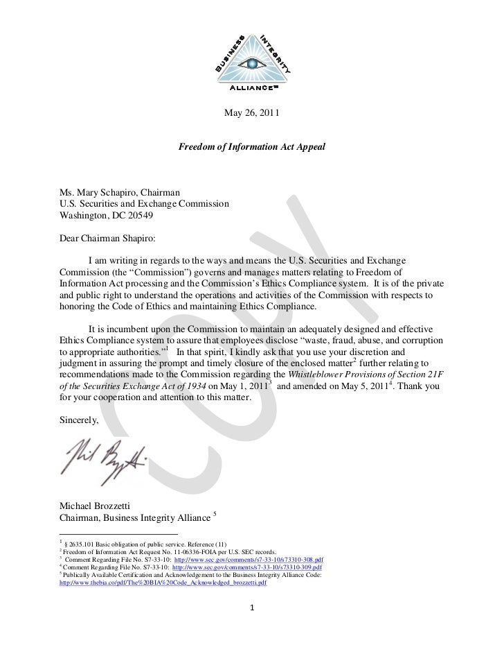 Correspondence to chair schapiro regarding matter 11 06336-foia fee waiver reponse-official copy