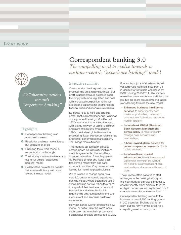 White paper                                               Correspondent banking 3.0                                       ...