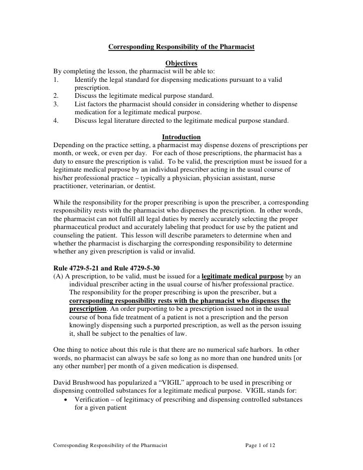 Corresponding Responsibility Of The Pharmacist