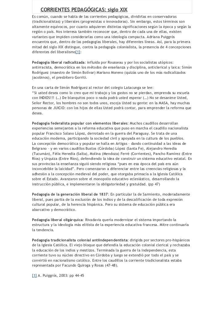 CORRIENTES PEDAGÓGICAS: siglo XIXEs común, cuando se habla de las corrientes pedagógicas, dividirlas en conservadoras(trad...