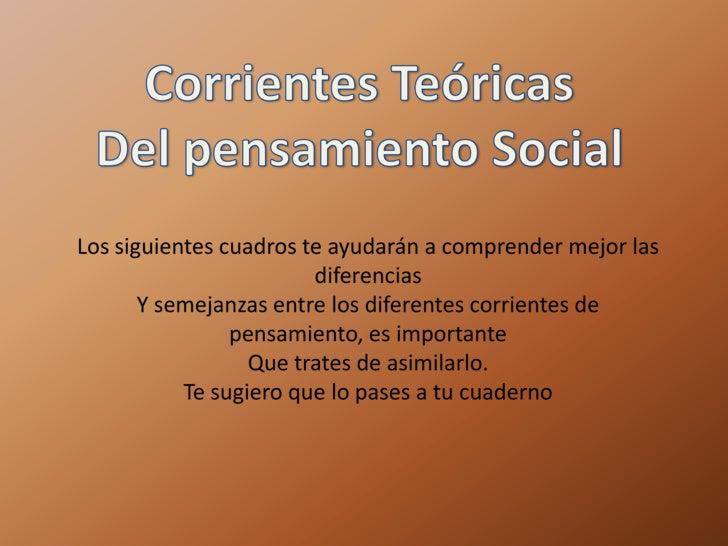 Corrientes Teóricas<br />Del pensamiento Social<br />Los siguientes cuadros te ayudarán a comprender mejor las diferencias...