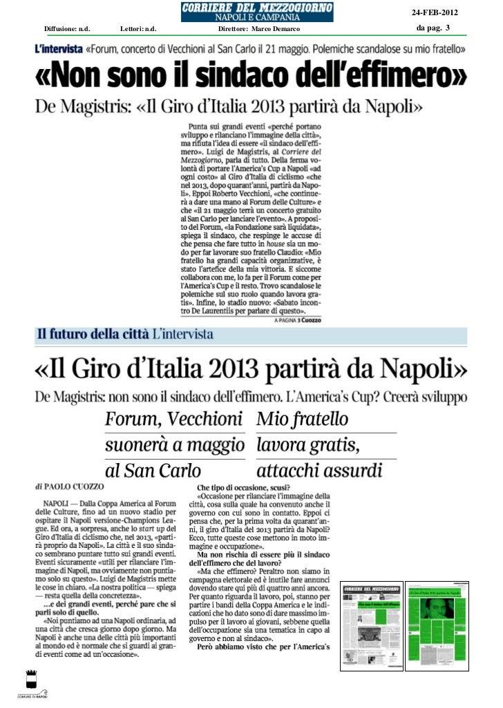 Corriere del mezzogiorno 24 febbraio 2012 pagina 3