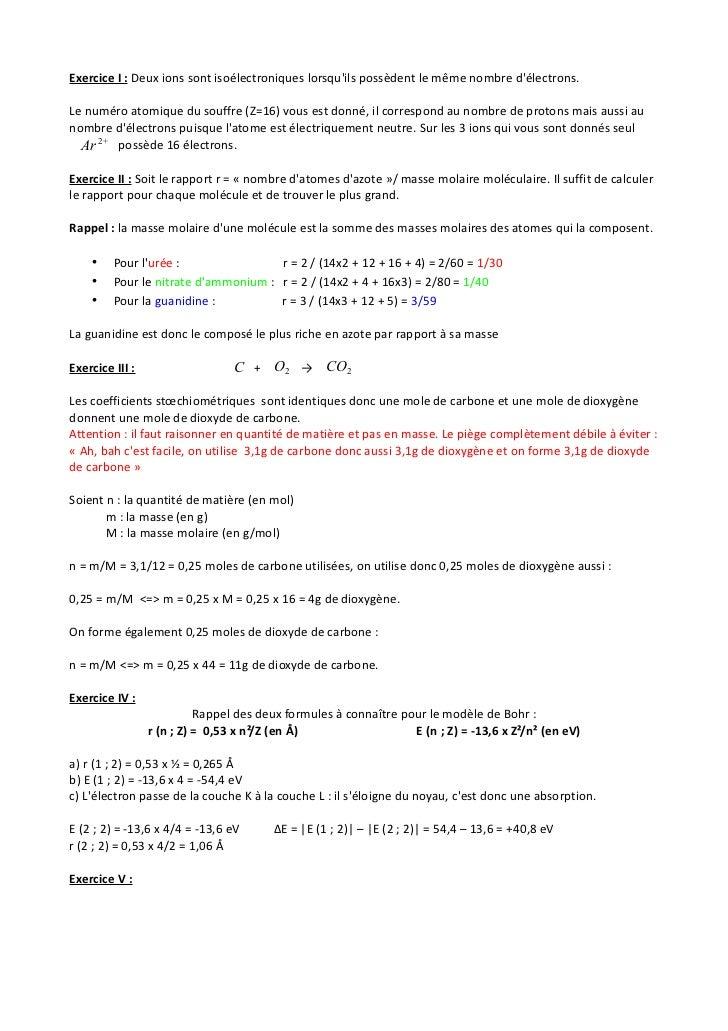 Exercice I : Deux ions sont isoélectroniques lorsquils possèdent le même nombre délectrons.Le numéro atomique du souffre (...