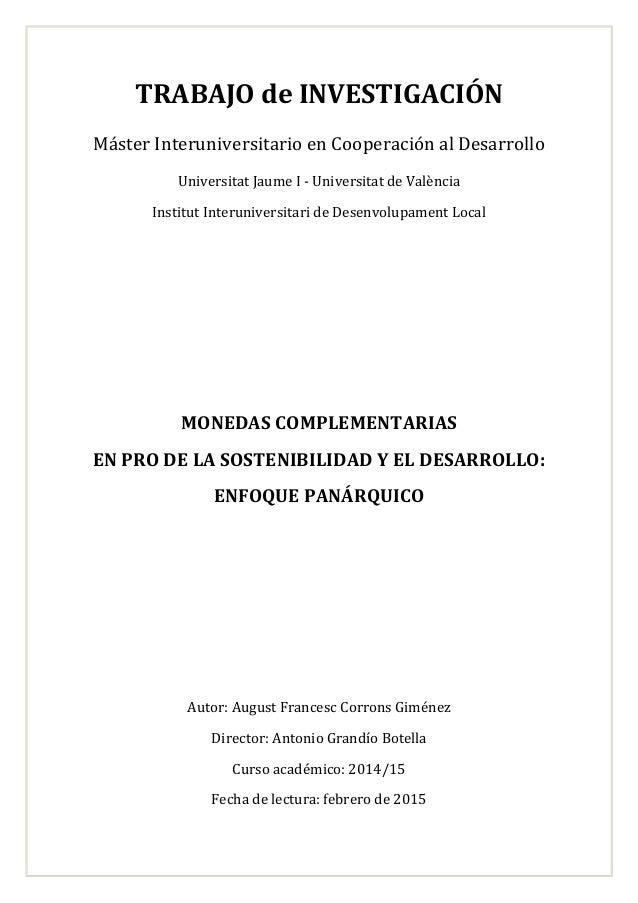 TRABAJO de INVESTIGACIÓN Máster Interuniversitario en Cooperación al Desarrollo Universitat Jaume I - Universitat de Valèn...